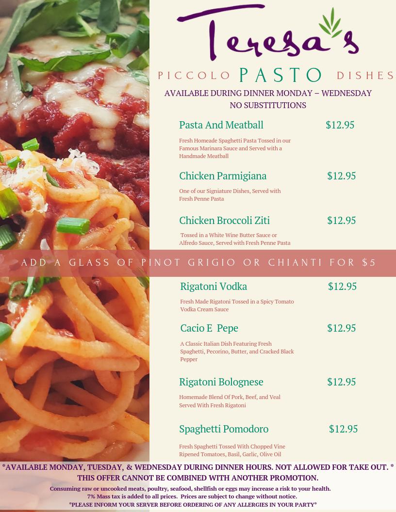 Piccolo Pasto Dishes - New Special Menu!